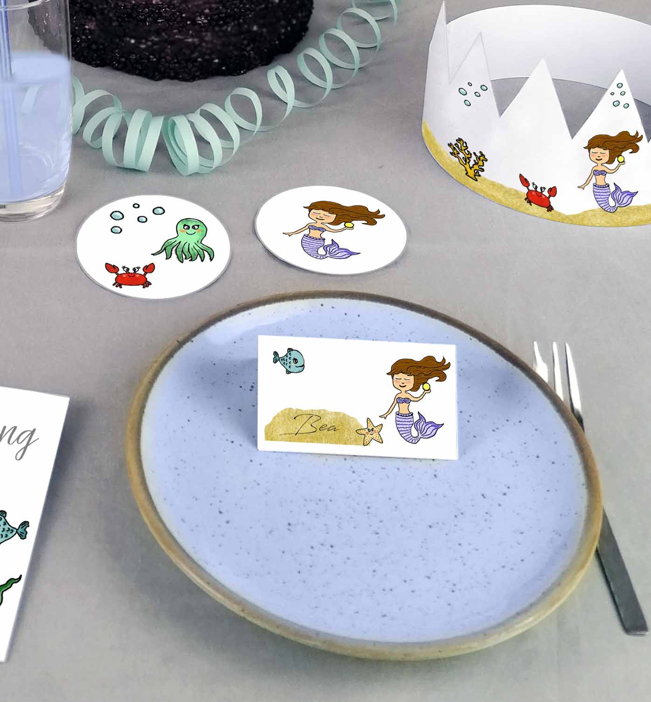 Druckvorlagen für Meerjungfrau Kindergeburtstag Namenskarten
