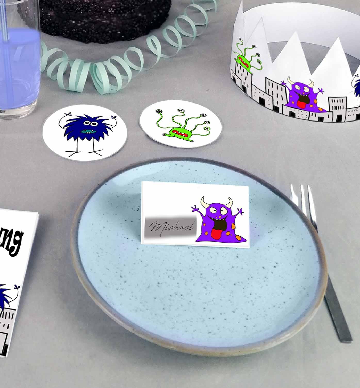 Druckvorlagen für Monster Kindergeburtstag Namenskarten