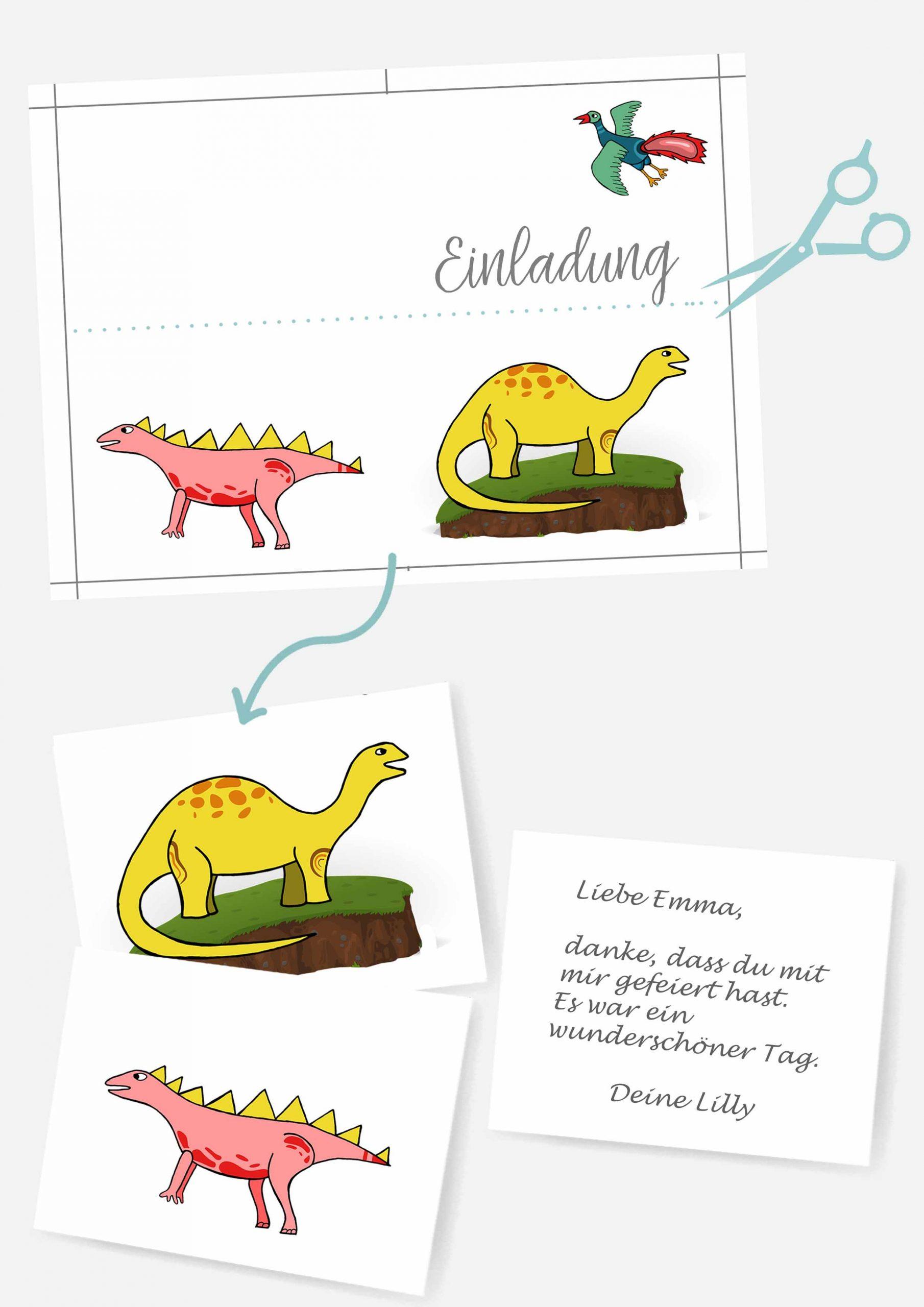 Druckvorlagen für Dinosaurier Postkarte als Mitgebsel