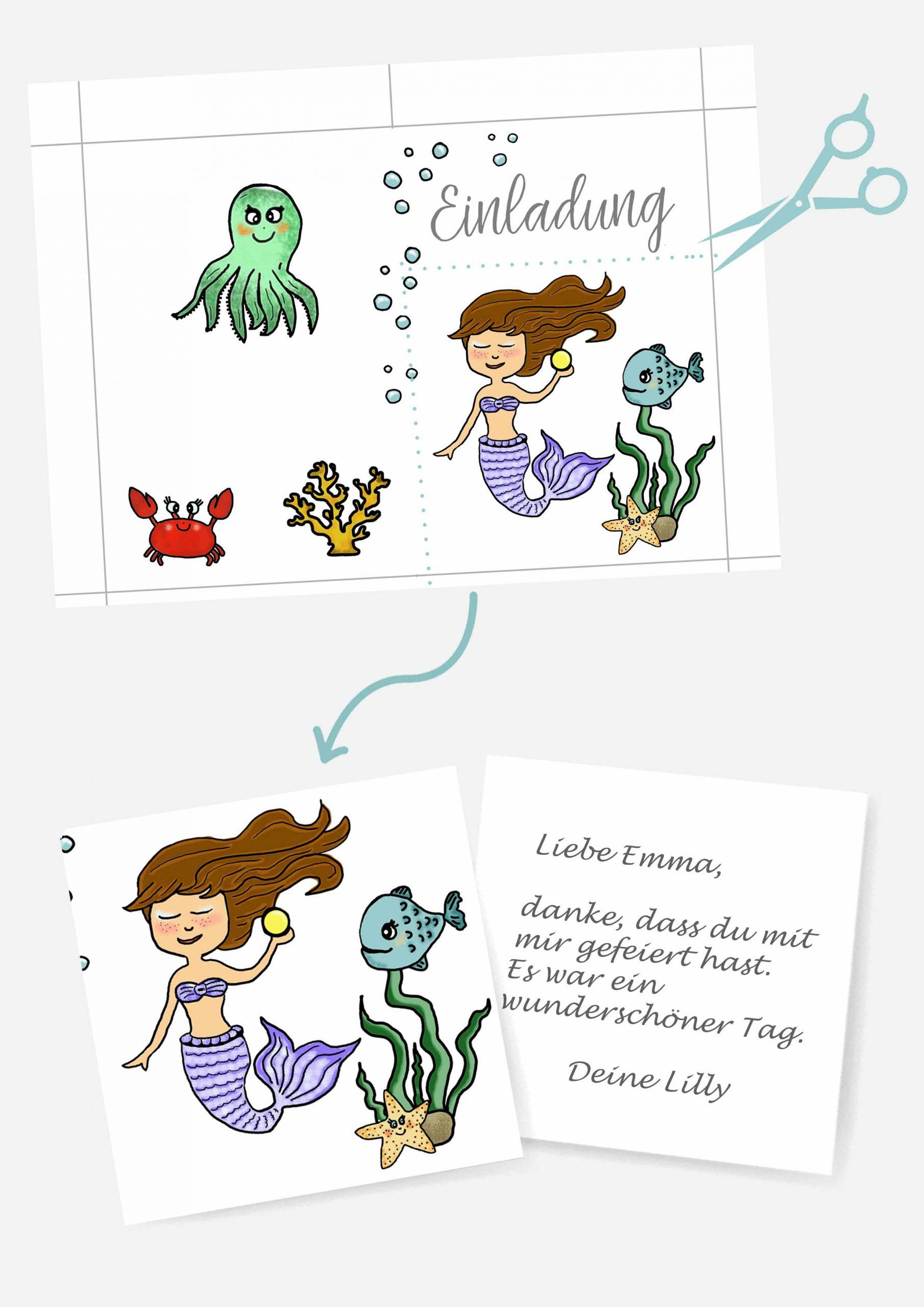 Druckvorlagen für Meerjungfrauen Postkarte als Mitgebsel