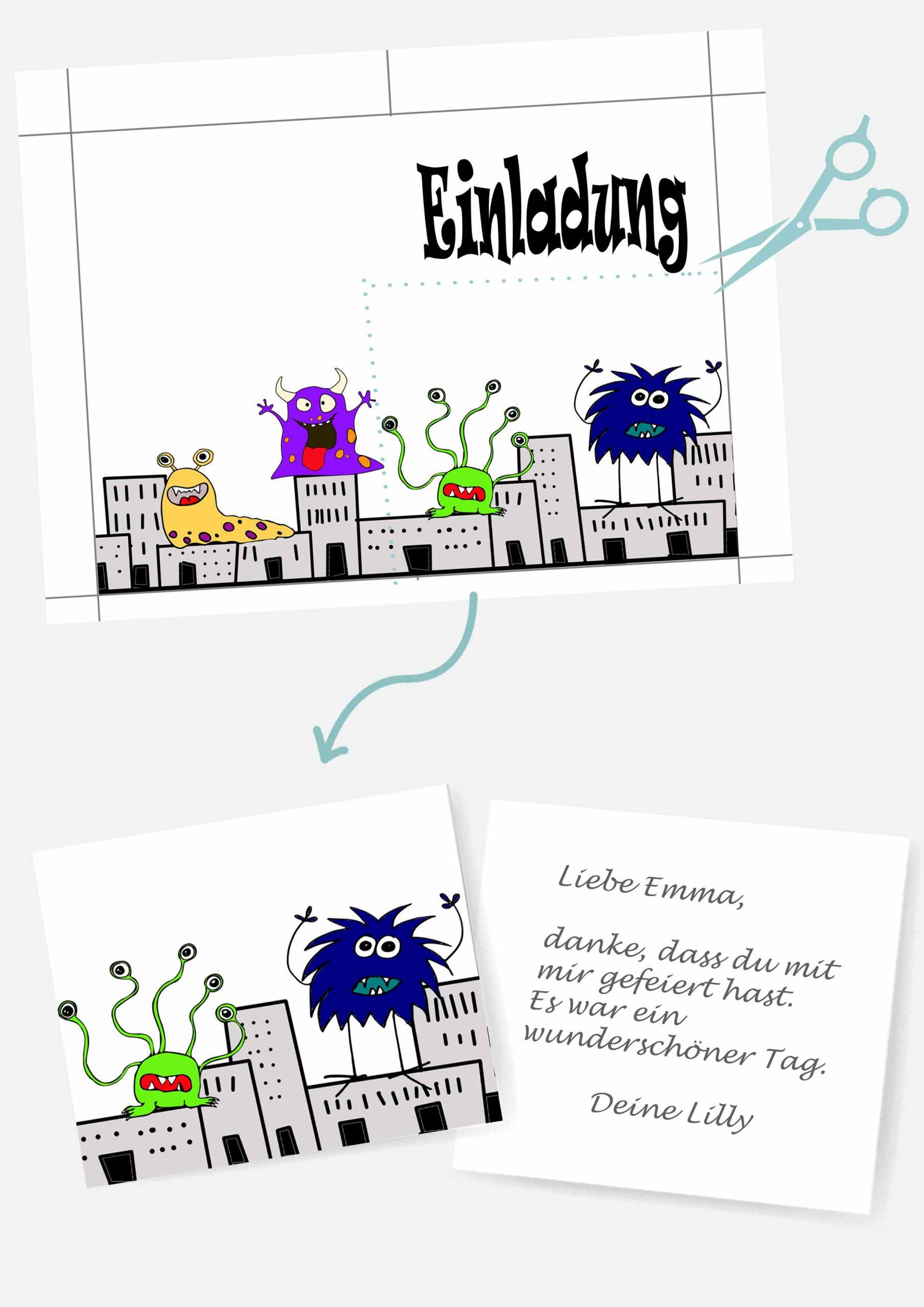 Druckvorlagen für Monster Postkarte als Mitgebsel