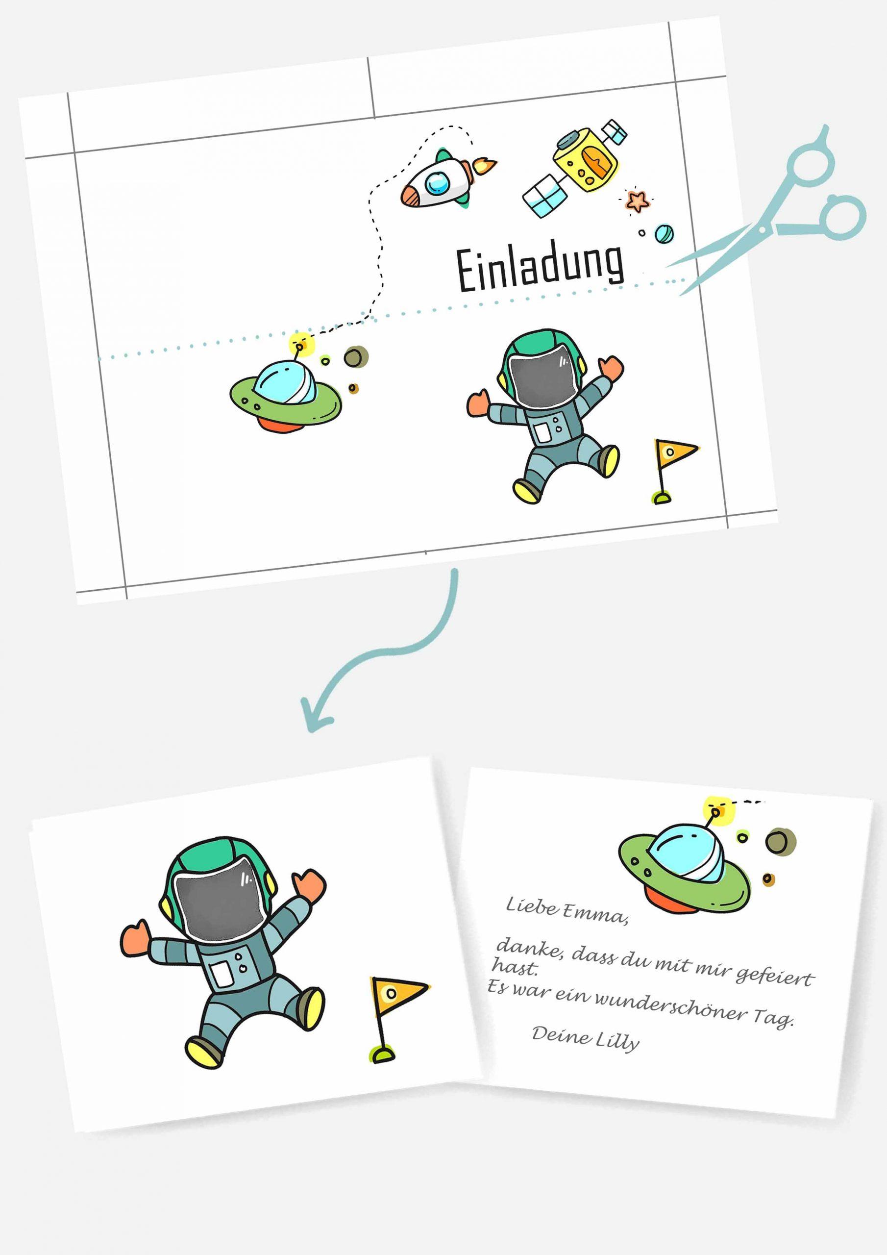 Druckvorlagen für Weltraum Postkarte als Mitgebsel