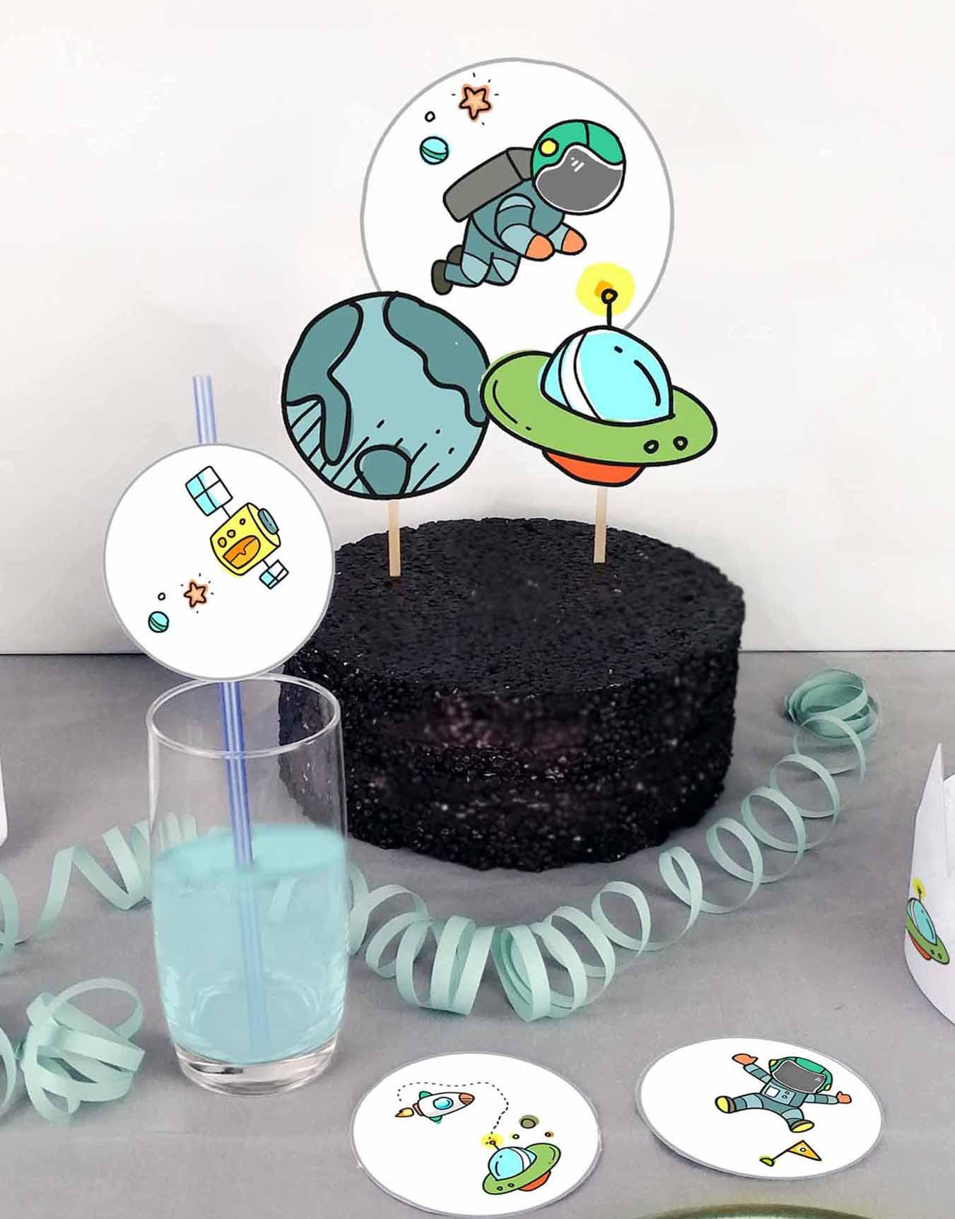 Druckvorlagen für einen selbst gebastelten Motto Cake Topper mit Astronaut